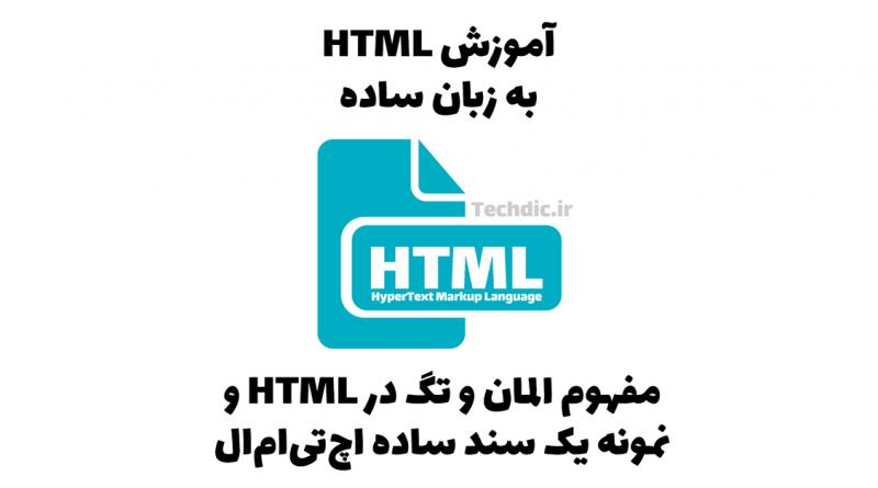 مفهوم المان و تگ در HTML و نمونه یک سند ساده اچتیامال