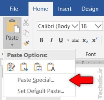 گزینه Paste Special در منوی دکمه Paste